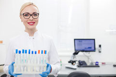 Attractive laboratory assistant with a set of samples Stock Photography