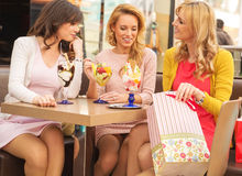 Attractive ladies in the shopping mall Stock Images