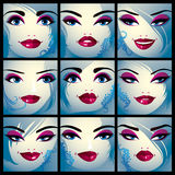 Attractive ladies vector portraits collection, girls with beauti Stock Images