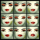 Attractive ladies vector portraits collection, girls with beauti. Ful makeup and green eyes. Facial expression of females Stock Photos
