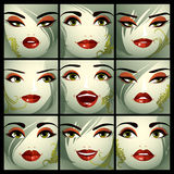 Attractive ladies vector portraits collection, girls with beauti Stock Image