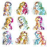 Attractive ladies vector portraits collection, silhouettes of la. Dies. Art drawings, graphic images with strokes. Personality emotions Stock Photo
