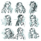 Attractive ladies vector portraits collection, silhouettes of la Stock Photo