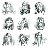 Attractive ladies vector portraits collection, silhouettes of la Royalty Free Stock Photos