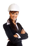 Attractive lady architect. Over white background stock photos