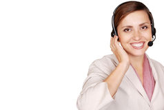 Attractive lady call center operator Stock Photos
