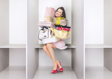 Attractive lady in the changing room Royalty Free Stock Photography