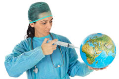 Attractive lady doctor curing the ill world Royalty Free Stock Photo