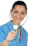 Attractive lady doctor  (focus in the stethoscope) Stock Images