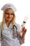 Attractive Lady Doctor with syringe Royalty Free Stock Photo