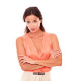 Attractive lady in elegant blouse looking at you Stock Image
