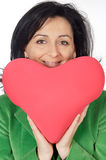 Attractive lady enamored in san Valentine. A over white background Stock Photo