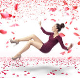 Attractive lady falling down Stock Photo