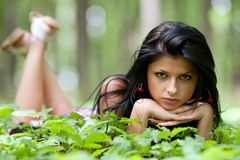 Attractive lady in the forest Royalty Free Stock Photo