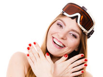 Attractive lady with goggle. Royalty Free Stock Photos
