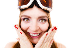 Attractive lady with goggle. Royalty Free Stock Photo
