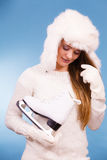 Attractive lady with ice skate. Royalty Free Stock Photo