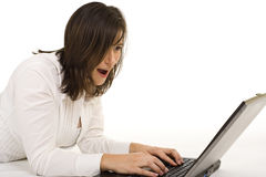 Attractive lady with laptop Stock Photo