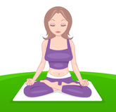 Attractive lady in purple clothes in yoga pose Royalty Free Stock Images