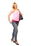 Attractive lady with purse Royalty Free Stock Images