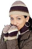 Attractive lady sheltered for the winter Stock Images