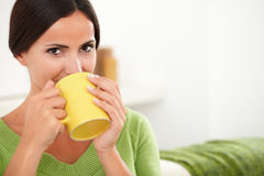 Attractive lady smiling at the camera Stock Photos
