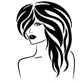 Attractive lady with stylish hair. Abstract attractive young lady half turn portrait with stylish hair, vector illustration isolated on the white background stock illustration