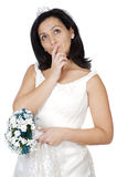 Attractive lady thinking if it takes marriage Stock Photo