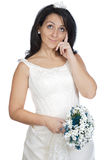Attractive lady thinking if it takes marriage Royalty Free Stock Image