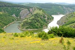 Attractive landscape of the Canyon of the River Uvac in Serbia stock images