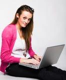 attractive laptop smiling woman young Arkivbilder