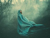 Attractive large lady in long blue summer light waving raincoat runs through forest with bare trees and mysterious white. Smoke and magical fog, charming stock photo