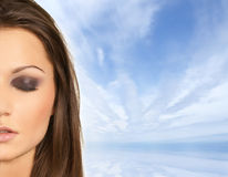 Attractive latino woman. Over sky with a lot of copy-space royalty free stock images