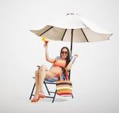 Attractive laughing woman in bikini Stock Photos