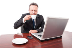 Attractive lawyer enjoying coffee flavour. On his office on white background stock images