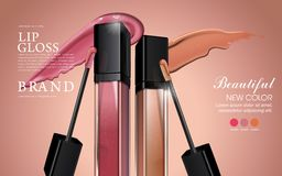 Attractive lip gloss ads. Sticky and glossy liquid texture with transparent glass container in 3d illustration vector illustration