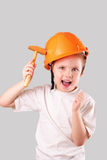 Attractive little builder girl royalty free stock photography