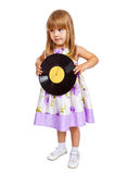 Attractive little girl holding vinyl record Stock Photos