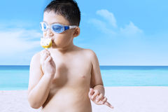 Attractive little kid enjoying ice cream Stock Images