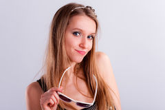 Attractive long-hair girl Stock Photos