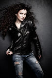 Girl in leather jacket Stock Photography