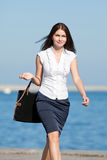 Attractive long haired brunette on open air Royalty Free Stock Photography