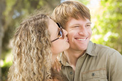 Attractive Loving Couple Portrait in the Park Royalty Free Stock Image