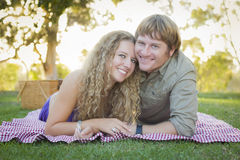 Attractive Loving Couple Portrait in the Park Royalty Free Stock Photos