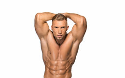 Attractive male body builder on white background. Attractive male body builder, isolated on white background Stock Photos