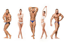 Attractive male body builder on white background. Attractive male body builder, isolated on white background and beautiful women with perfect clean skin. Collage Stock Photos