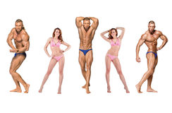 Attractive male body builder on white background Stock Photography