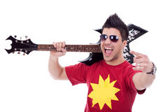 Attractive male guitarist Stock Image