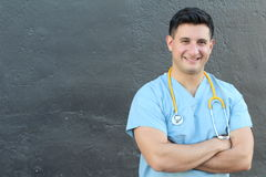 Attractive Male Hispanic Doctor or Nurse Isolated with Copy Space Royalty Free Stock Image