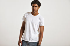 Attractive male model presenting blank white t-shirt Royalty Free Stock Photo